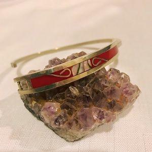 Vintage / Coral & Abalone Bracelet